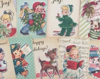 VintagecRetro Style Christmas Toppers make your own cards tags scrapbooking