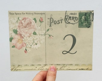 Vintage Style Wedding Table Cards Postcards numbers names custom