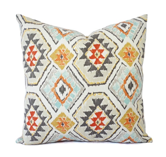 Blue Aztec Throw Pillows : Two Throw Pillows Tribal Pillow Cover Aztec by CastawayCoveDecor
