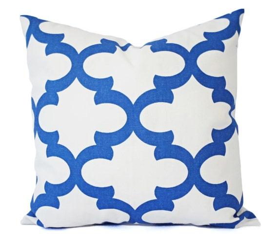 Two Blue Throw Pillows Quatrefoil Decorative Pillow Covers
