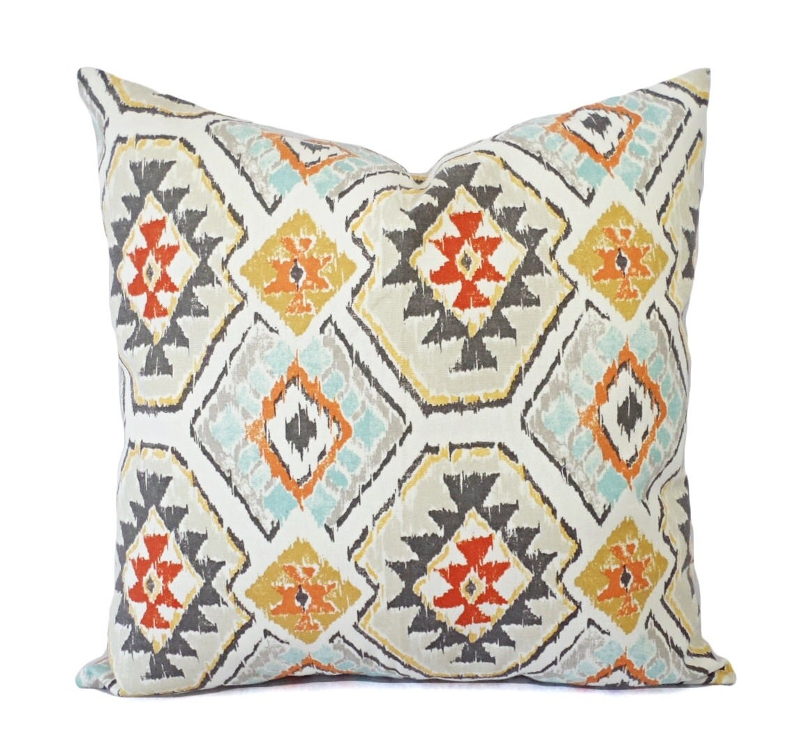 Two Throw Pillows Tribal Pillow Cover Aztec by CastawayCoveDecor