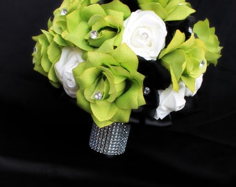 Wedding Bouquet, rose bouquet, green bouquet, real touch roses, bridal bouquet, real touch bouquet, bridal bouquet, silk wedding flowers,