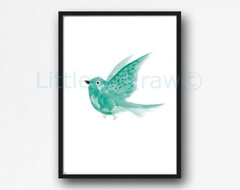 Bird Print Mint Flying Bird Watercolor Painting Art Print Watercolor Print Bird Watercolour Wall Art Unframed Wall Decor