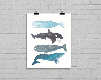 Whales Watercolor Print Painting Whale Bathroom Wall Art Nautical Print Whale Stack Watercolor Art Print of Whales Wall Art Unframed