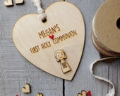 Rustic First Holy Communion or Confirmation wooden heart