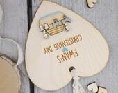 Rustic Personalised Christening, Baptism or Naming Day keepsake heart