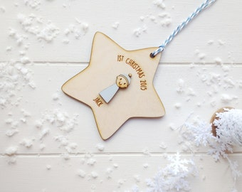 Personalised Baby Boy's First Christmas Decoratiion