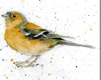 Chaffinch Greeting Card - Bird Card, Blank Inside, Watercolour