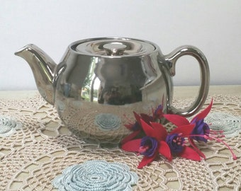 Vintage Royal Worcester small Silver  lustre fireproof Teapot. TP018