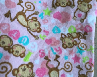 Pink brown monkey print flannel fitted crib sheet