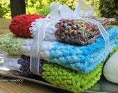 Crochet Nautical Handmade Dishcloths/Potholders, Kitchen-Bathroom Set of 3
