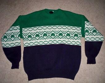 Vintage Knit Shamrock Saint Patty's Patrick's Day Get Lucky Green Acrylic Men's Sweater Size Xlarge