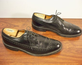 Vintage American Gentleman Made in USA Black Leather Men's Work Wingtips Pimp Gangster Dress Shoes Oxford Size 10.5