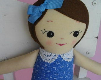Classic Rag Doll in Blue Dress - Handmade cloth doll plush toy Gift for Girls