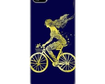 Mermaid // Bicycle // iPhone 5/5S case // Hard Case // Black