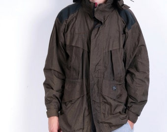 Technical Trespass Mens M Jacket Breathable Outer-Wear Nylon Brown Hood