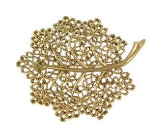 Vintage Openwork Filigree Leaf motif  Pin Brooch