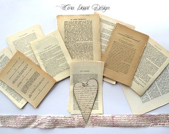 Vintage French Ephemera - 100 Vintage French Book Pages, Card making , Scrapbooking , Collage, Altered Art - Journalling - Decoupage -
