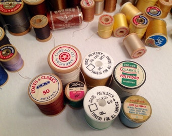 Lot of 66 Spools of Vintage Sewing Thread - Variety of Colors and Styles -  New Full Spools - Seamstress Crafting Supplies