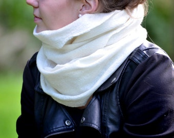 Felted Infinity Scarf ,felted cowl scarf, soft merino wool scarf .