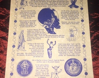 Moon Goddesses Poster Wiccan Pagan Witch Shaman Altar Decor
