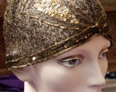 Fabulous 1920s Flapper Cloche Cap Gold Metallic Bullion Sequins