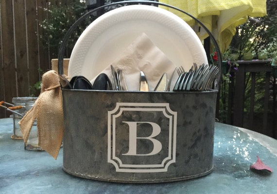 Personalized Utensil and Napkin Holder. Monogram Silverware caddy. Great for your friends and family BBQ's or in your Kitchen