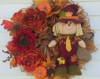 Scarecrow Wreath, Fall Wreath, Harvest Wreath, SAMMIE SCARECROW Burlap Deco Mesh Silk Floral Scarecrow Fall & Thanksgiving Front Door Wreath