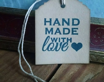 "Handmade with Love Hang Tags, small business, customer appreciation tags, sized 2 1/2"" x 2"", set of 12"