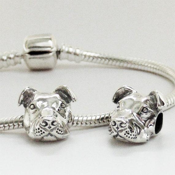peaceful pit bull charm for european style bracelet