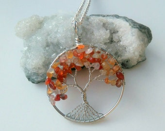 Carnelian Gemstone Tree Of Life Pendant Necklace