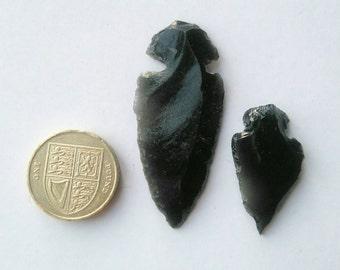 2 Pieces Natural Black Obsidian Arrowhead