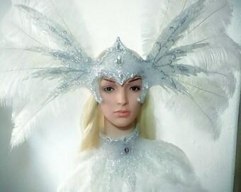 Wings Ice snow queen Swan phoenix helmet collar necklace headdress headpiece wedding burlesque show drag queen Venise carnival accessories