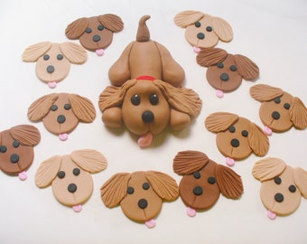PUPPY 3D Fondant Cake Topper and 12 Fondant Cupcake Toppers