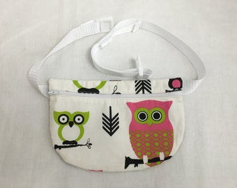 Hooty Owls Flat Zipper Fanny Pack, Waist Bag, Hip Pouch, Festival Bag, Bum Bag