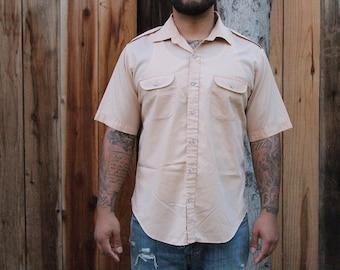 Vintage Peach Short Sleeve Casual Shirt