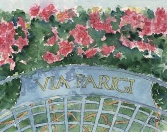 Watercolor Print, Worth Avenue, Palm Beach, Wall Art, Gift