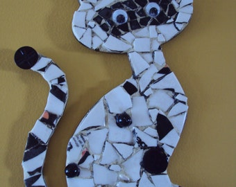 Black and White Pique Assiette Mosaic Cat