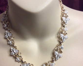 Vintage 1960's Sarah Coventry fall autumn leaves collar necklace