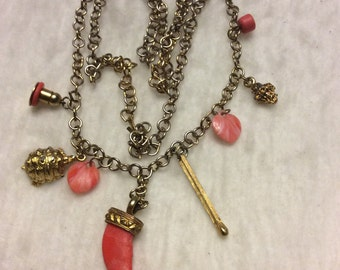 Vintage 1950's pink coral charms long necklace