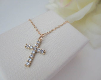 Swarovski Crystal Cross Necklace in Gold Filled Chain-Faith Necklace-Everyday Necklace-Perfect Gift for friends-Birthday Present for her-