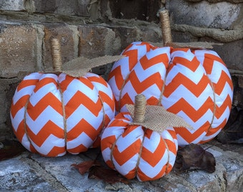 Fall Fabric Pumpkin. Halloween Fabric Pumpkin. Fall Pumpkin Decor. Thanksgiving Pumpkin Decor. Chevron Fabric Pumpkins.