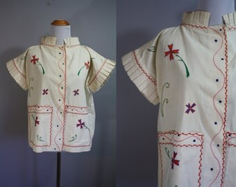 Mid-Century Jacket // Linen with Embroidery // XL
