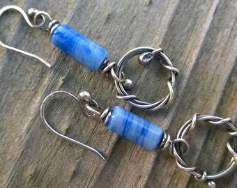 Sterling Silver Vine with Blue Bead Earrings