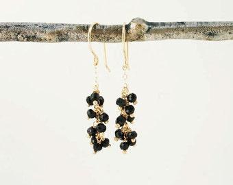 Black spinel earrings in 14k gold. Gemstone cluster earrings. Solid gold handmade modern black and gold dangle, earrings.