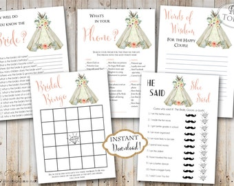 INSTANT DOWNLOAD - Teepee Boho Floral BRIDAL Games Package - Printable Bridal Shower Games - Tee pee Boho Feather Game Pack - Bohemian 0330