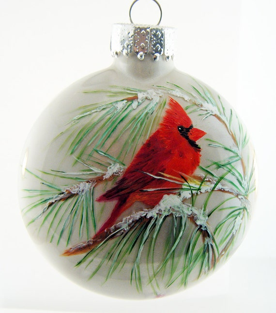 Cardinal hand painted glass christmas ornament for Christmas glass painting