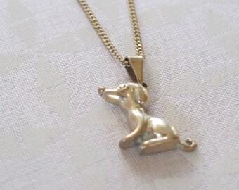 Silver puppy necklace