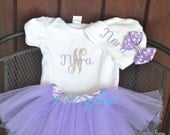 Personalized monogrammed outfit with tutu, monogrammed baby outfit, purple newborn outfit, personalized take home outfit
