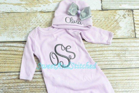 Personalized purple monogrammed newborn gown, baby girl take home hospital outfit in lavender, newborn hat, monogram baby girl outfit